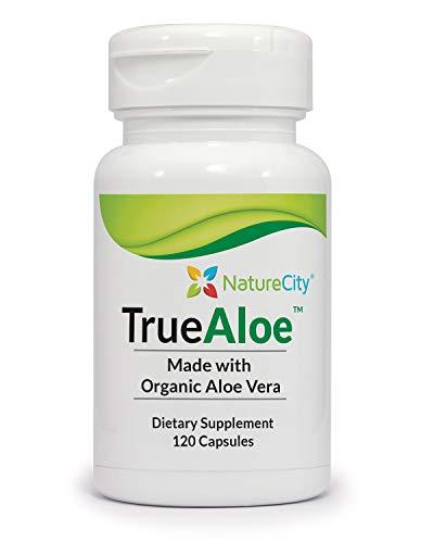 True-Aloe 40,000mg Gel Equivalent Per Capsule – Made with Organic Aloe Vera (120 Capsules)