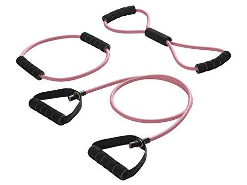 Crivit® Expander Set Fitness Band Bänder Zubänder Dehnband Rosa Zugstärke Leicht