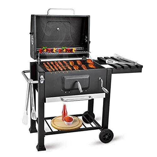 bigzzia BBQ Grill Charcoal Barbecue Grill with Side Shelf and Hook For...