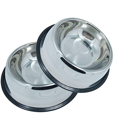 Whippy Stainless Steel Dog Bowls for Small,Medium,Large Pets Set of 2 (Silver,M,10oz)