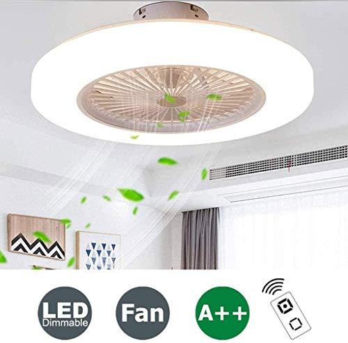 Ventilador de techo LED con luz ultra delgado y moderna, regulable, ventilador de techo, 3 velocidades, ajustable, para comedor, dormitorio, sala de estar, iluminación de techo con mando a distancia Ø58C.
