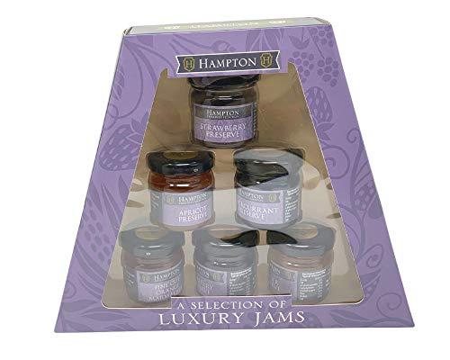 Eine Premium-Auswahl an Marmeladengläsern von Hamptons; 6 wiederverschließbare Gläser à 42 g pro Geschenkkorb. Geschenk-Set für Weihnachten, Geburtstage und besondere Anlässe.