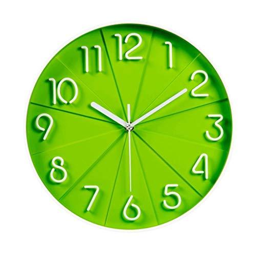 BAIJJ Reloj de Pared de Moda Stere Mute Clock Dormitorio Reloj de Cuarzo Creativo (Color: Verde)