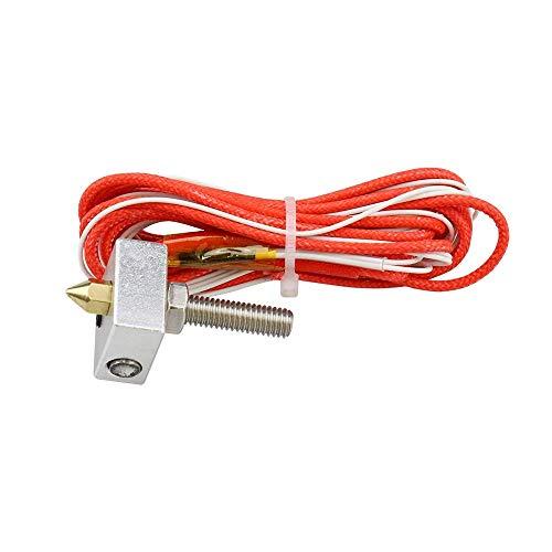 1set End Kit MK7 MK8 0.4mm Nozzle Extruder Throat 12V 40W Heater Thermistor Aluminum Heater Block For 3D Printer (Size : 40mm Throat) (Size : 50mm Throat)
