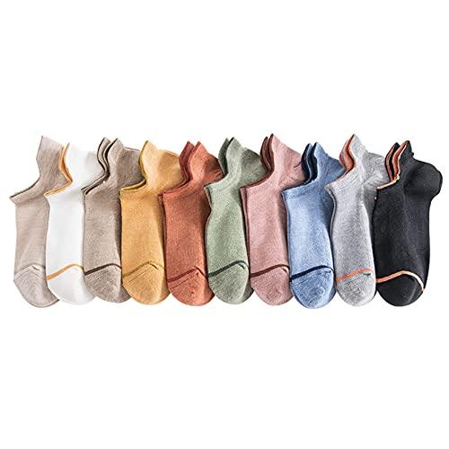 Medias bajas de mujer de 10 piezas, calcetines de color puro y calcetines transpirables de malla, para bailar, entrenamiento descalzo,Multi colored,One Size