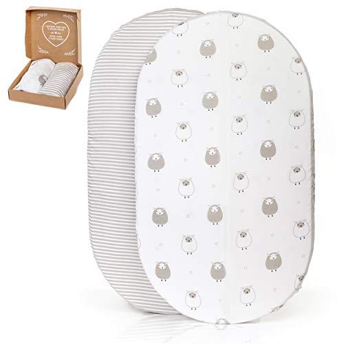 2 sábanas bajeras ajustables mimaDu para minicuna, capazo, carro, cochecito (70x36 / 80x35 / 80x46 cm) – Pack de sábanas suaves 100% algodón OEKO-Tex para colchón de bebé (ovejas, rayas gris)