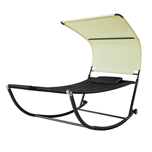 SoBuy OGS44-SCH, Outdoor Garden Patio Swing Bed, Rocking Sun Lounger, Swing Sun Bed with Sun Shade