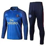ZH~K Traje de entrenamiento de fútbol de manga larga de 2 piezas, juego de uniforme de equipo, camisetas de fanático, azul ZH36 para hombre (color: azul, tamaño: XL)