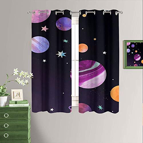 Cortinas de oscurecimiento para habitación y dormitorio, color negro, ahorro de energía, para dormitorio, sala de estar, 55 x 45 pulgadas