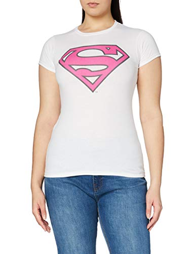 DC Superman Comics Superman Colour Logo 5 T-Shirt, Bianco (White), M Donna