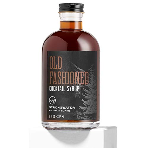 Strongwater Old Fashioned Cocktail Syrup (8 Fl Oz) Non-Alcoholic Drink Mixer - Handcrafted with Bitters & Organic Demerara Sugar