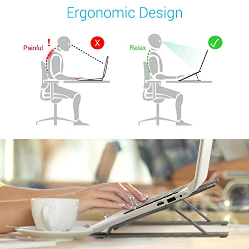 Portronics My Buddy K, a Foldable Height Adjustable Metal Frame Laptop Stand, Ergonomic, OverHeating Protection for Laptops, All Laptops & MacBooks (Grey)