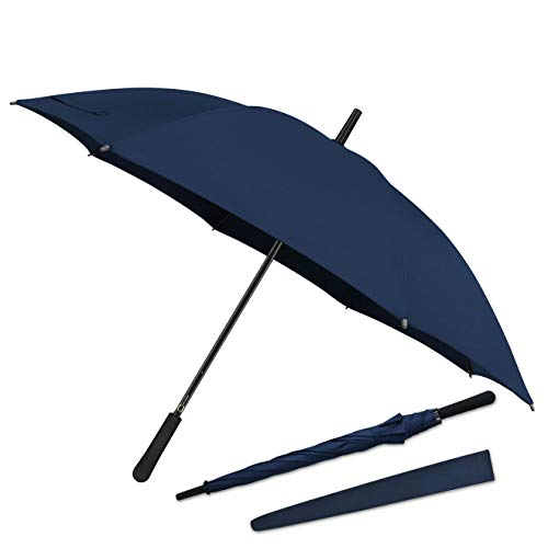 43 In Long Stick Umbrella for Men and Women, Automatic Open, Double Strong Umbrella Bone for Outdoor Use, Rain & Wind Resistant Umbrellas-Purplish Blue