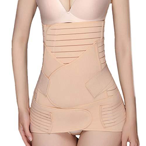 POHOK Damen Miederhose Mit Bein Women 3 in 1 Erholung Bauchwickel Taille/Beckengürtel Shaper Shapewear Bauch(L,Khaki)