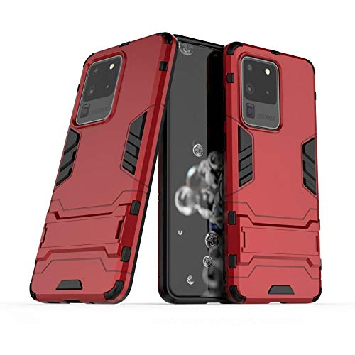 COOVY® Funda para Samsung Galaxy S20 Ultra SM-G988B/DS de plástico y Silicona TPU, extrafuerte, con protección contra Golpes, Funda con función Atril   Rojo