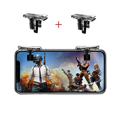 Mobile Game Controller [Upgrade Version] Mobile Gaming Trigger for PUBG/Fortnite/Rules of Survival Gaming button and Gaming Joysticks for 4.5-6.5inch Android iOS Phone (1Pair)