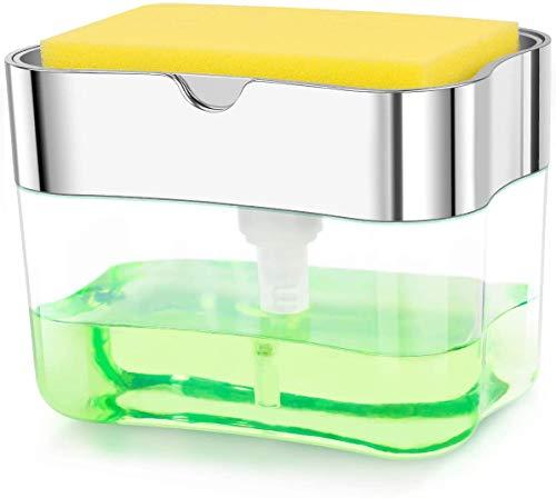 DADA-TECH Liquid Soap Dispenser Set, Foaming Chrome Plastic Elegant Hand Pump Dispenser with Sponge Caddy Organizer Holder for Kitchen Sink Tidy (Silver)