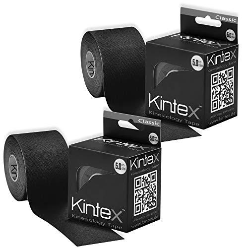 Kintex Schwarz 2 Rollen Kinesiologie Classic 5cm x5m, Physio, Therapie-Tape, 5m x