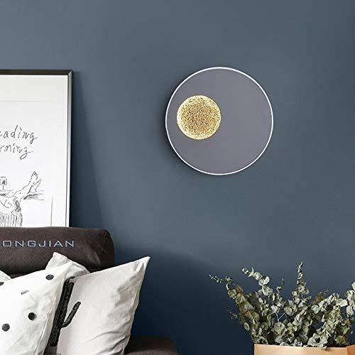 WHSS Luces de pared nórdico simple LED estrella lámpara de pared diámetro 23 cm gris luz caliente hotel sala dormitorio cama doble redondo