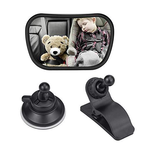 Demason Rücksitzspiegel für Babys, Spiegel Auto Baby, Auto Rücksitz Spiegel Kinder Sicherheitsspiegel 360° Schwenkbar für Babyschalen und Kindersitze (Halterung +Saugnapf)