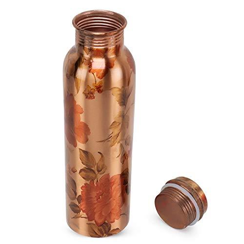 Botella de agua impresa flor de cobre puro para beneficios ayurvédicos de salud libre de juntas a prueba de fugas (cobre, 900 ml)
