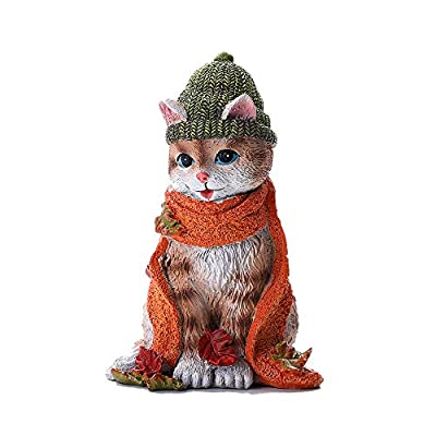 YAMUDA Hand-Painted Cat Statue,Animal Figurine Collectible for Home Accents, Living Room,Bedroom Office Decoration,Buhos Bookshelf, TV Stand Decor (Cat Collins)