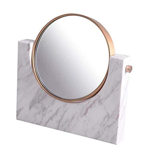 LIXHZJ Espejo Maquillaje Escritorio Escritorio Mármol Europeo Hogar Circular Doble Cara Rotación Vanidad Se puede utilizar como regalo de cumpleaños, Blanco Código de producto: WW-149 (Color: Blanco)