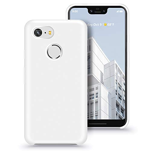 Xperg Pixel 3 XL Case, Google Pixel 3 XL Liquid Silicone Gel Rubber Case Cover Soft Microfiber Cloth Lining Cushion Compatible for Google Pixel 3 XL (White)