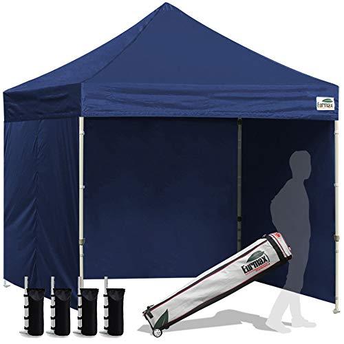 Eurmax 8x8 Feet Ez Pop up Canopy Tent, Pop-up Instant Tent, Outdoor Canopies Commercial Gazebo with Sidewalls and Roller Bag, Bonus 4 SandBags, (Navy Blue)