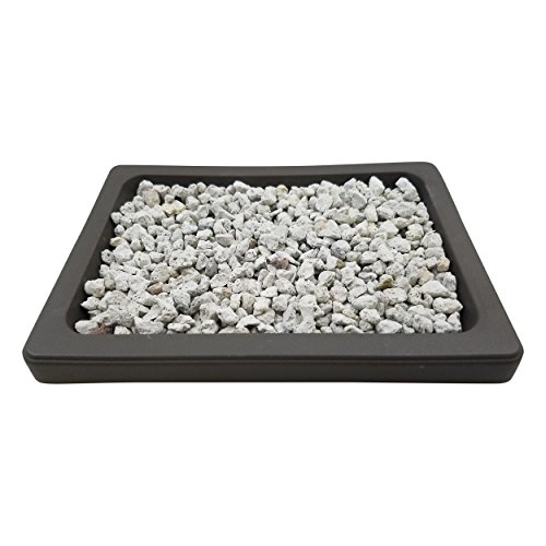 Bonsai Drip & Humidity Tray with White Pumice - Brown Plastic Tree Tray - Great for Mica Pots (6.5 x 4.75, White Pumice)