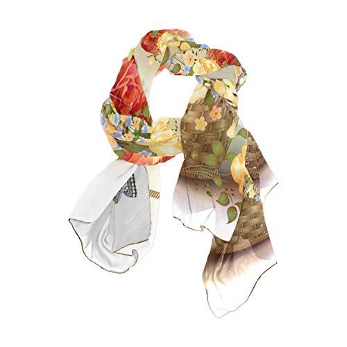 Bufandas largas con sensación de seda para mujer, cesta de mimbre, rosas...