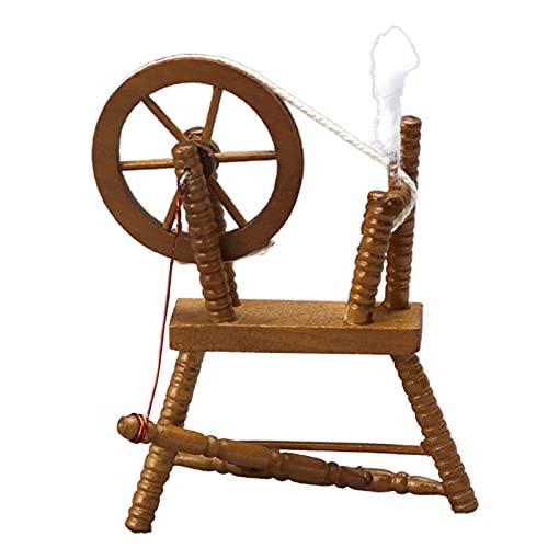 Rueda giratoria miniatura Retro realista de madera escala 1/12 Maroon Spinning Wheel modelo para casa de muñecas - Maroon