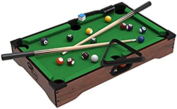 Hey! Play! Mini Tabletop Pool Set- Billiards Game Includes Game Balls, Sticks, Chalk, Brush and Triangle-Portable and Fun for The Whole Family