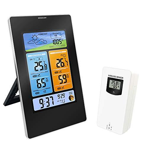 Protmex Wetterstation mit Außensensor Multifunktionale Hygrometer Thermometer Innentemperatur Außentemperatur Funk Digitales 3374