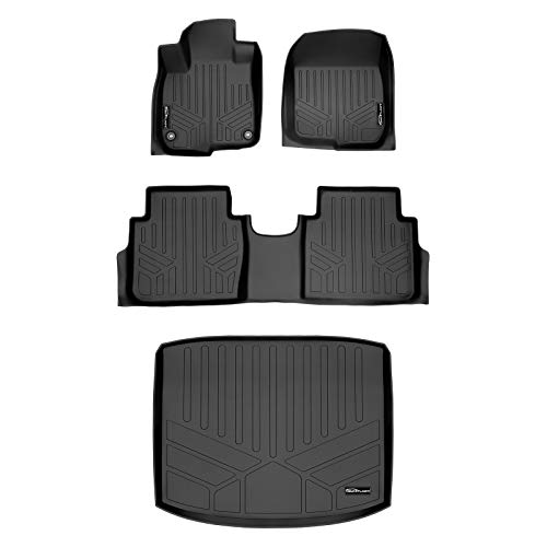 SMARTLINER Custom Fit Floor Mats 2 Rows and Cargo Liner (Factory Lower Deck Position) Set Black for 2017-2021 Honda CR-V