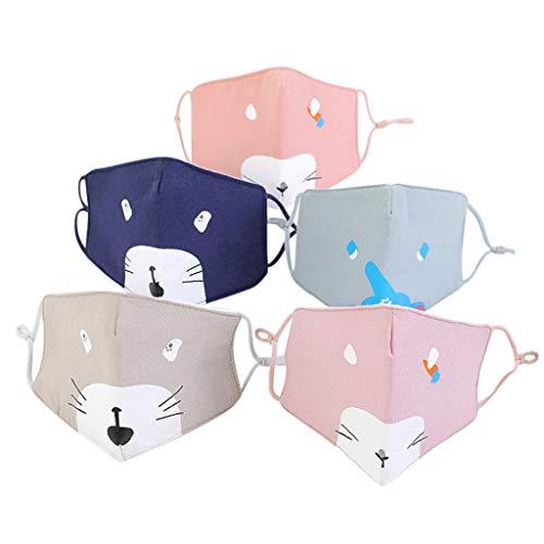 Pany 5 Stück Face Shield 2-lagig Staubschutz Mundschutz mit Ohrschlaufen für Kind,Waschbar