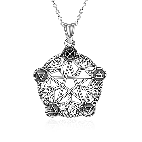 Tree of Life Pentacle Necklace Sterling Silver Pentacle Pentagram Necklace Viking Celtic Tree of Life Pendant Wiccan Pagan Jewelry Birthday Gifts for Women Men