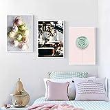 YQLKC Arte de Pared nórdico para la Sala de Estar Póster de Moda Helado Lienzo Cafetera Life Print Lollipop Picture Decoración del hogar 23.6'x31.4 (60x80cm) x3 Sin Marco