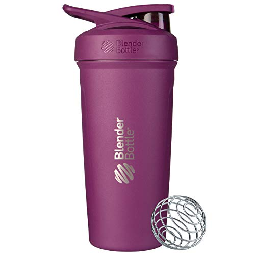 BlenderBottle Strada Shaker Cup Insulated Stainless Steel Water Bottle with Wire Whisk 24Ounce Plum