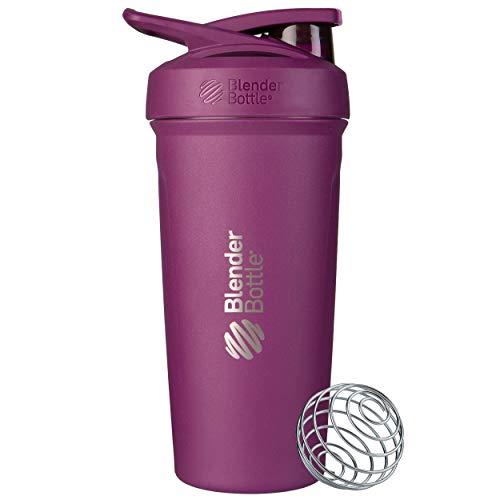 BlenderBottle Strada - Edelstahl Trinkflasche, Thermoflasche mit BlenderBall, Protein Shaker und Fitness Shaker, BPA frei, Doppelwandig, Vakuum isoliert - plum, 375 g