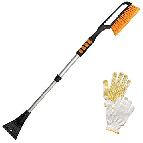 "Tenozek 39"" Snow Brush and Extendable Ice Scraper,Windshield Snow Ice Removal Broom with Ergonomic Foam Grip for Cars, Trucks, SUVs (Orange)"