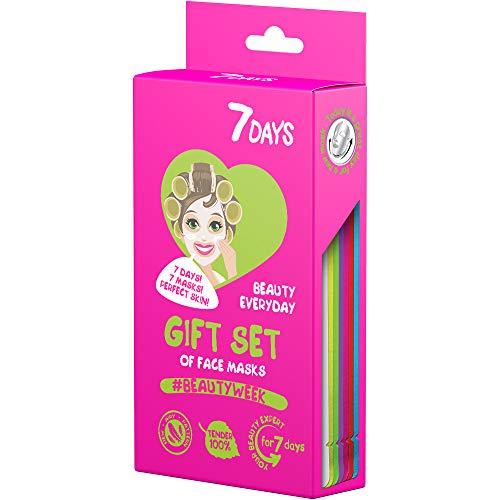 7DAYS Estuche de regalo Beautyweek Kit de 7 mascarillas faciales Cuidado de piel durante una semana Para todo tipo de piel Hidratación Antiarrugas