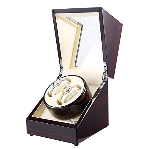 CCAN Caja de Reloj Caja automática de Madera con enrollador de Reloj, 4 Modos de rotación y Motor silencioso, Caja de Almacenamiento de Reloj de múltiples epítopos, Adaptador de CA (Color: E), Reloj