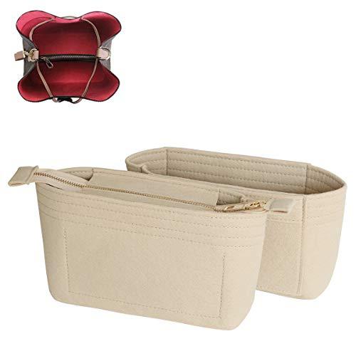 SHINGONE Taschenorganizer Filz Handtaschen Organizer mit Reißverschluss, Innentaschen für Handtaschen Bag Organizer für Damen, Taschenorganizer Beige
