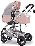 LYXY Cochecito de carruaje de Cochecito,Cochecito de bebé Plegable con Rueda Delantera de 360Grados y Dosel de 4 velocidades,Camiones de absorción de Golpes,con Soporte de Taza (Color:marrón)