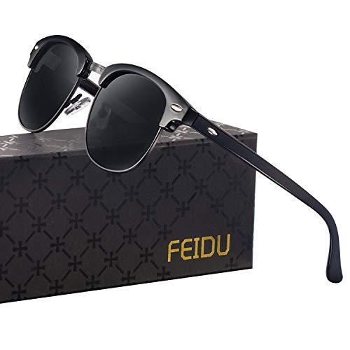 FEIDU Halbrahmen Polarisierte Klassische Metall Sonnenbrillen Herren-Retro Polarisierte Sonnenbrille Damen FD 3031 (all/schwarz, 2.04)