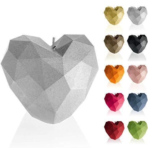 Candellana Kerze Heart Low Poly | Höhe: 8 cm | Silber | Handgefertigt in der EU