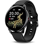 WHENOW Fitness Tracker Smart Watch with Blood Oxygen, 24 Hours Heart Rate Monitor for Women Men, IP68 Swimming Waterproof Sports Watch, Compatible for Android Phones & iOS Phones (Black)