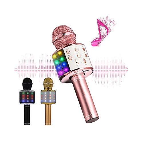 Learn More About Wireless Bluetooth 4 in 1 Karaoke Microphone, Portable Handheld Karaoke Machine Spe...
