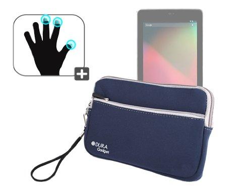 DURAGADGET Housse étui résistant en néoprène Bleu + Gants capacitifs conducteurs Taille M (Moyen) pour Google Nexus 7 ASUS Tablette Android 4.1 Jellyb
